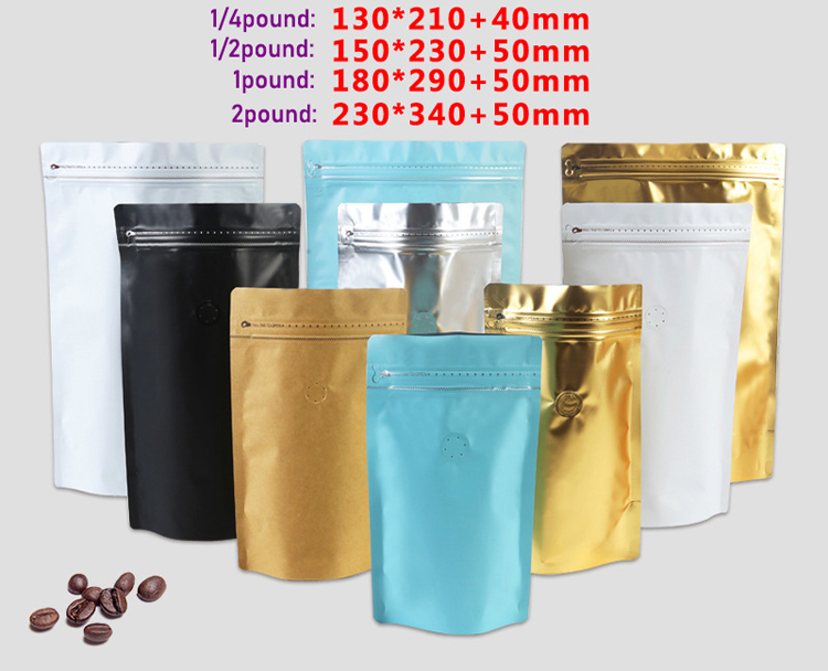 Custom wholesale 125g 250g 500g 1kg black printing aluminum foil ziplock block bottom coffee bag with one way valve