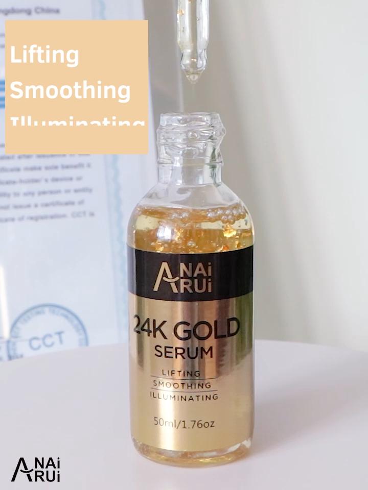 OEM/ODM /Private label  Anti Aging Anti Wrinkle Hyaluronic Acid Vitamin E Collagen 24K Gold Serum