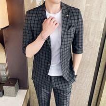 Мужской Клетчатый Блейзер, смокинги для свадьбы, смокинги для мужчин, костюм-смокинг из 2 предметов, 2020(Китай)