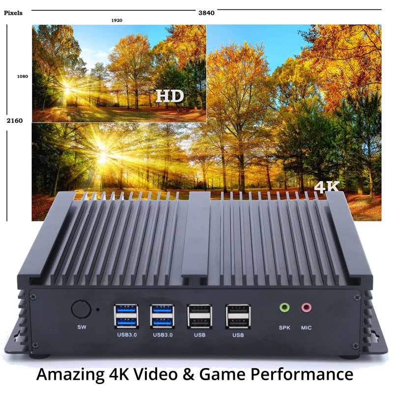 Industrial Embedded Firewall Home Server Mini PC Core I3 Fanless Rugged Small Computer Case Dual LAN Wall Mount Thin Client PC