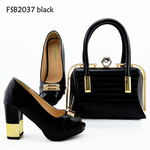 Factory price black office lady handbag with high heels shoes and bags in napoli