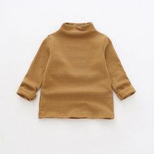 Весенне-Осенние футболки из чистого хлопка с длинными рукавами и полуворотником для маленьких девочек милые детские повседневные универса...(Китай)