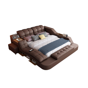 Modern Bedroom furniture Storage Leather Bed Multifunction Massage Tatami Bed Smart Bed With Bluetooth Speaker