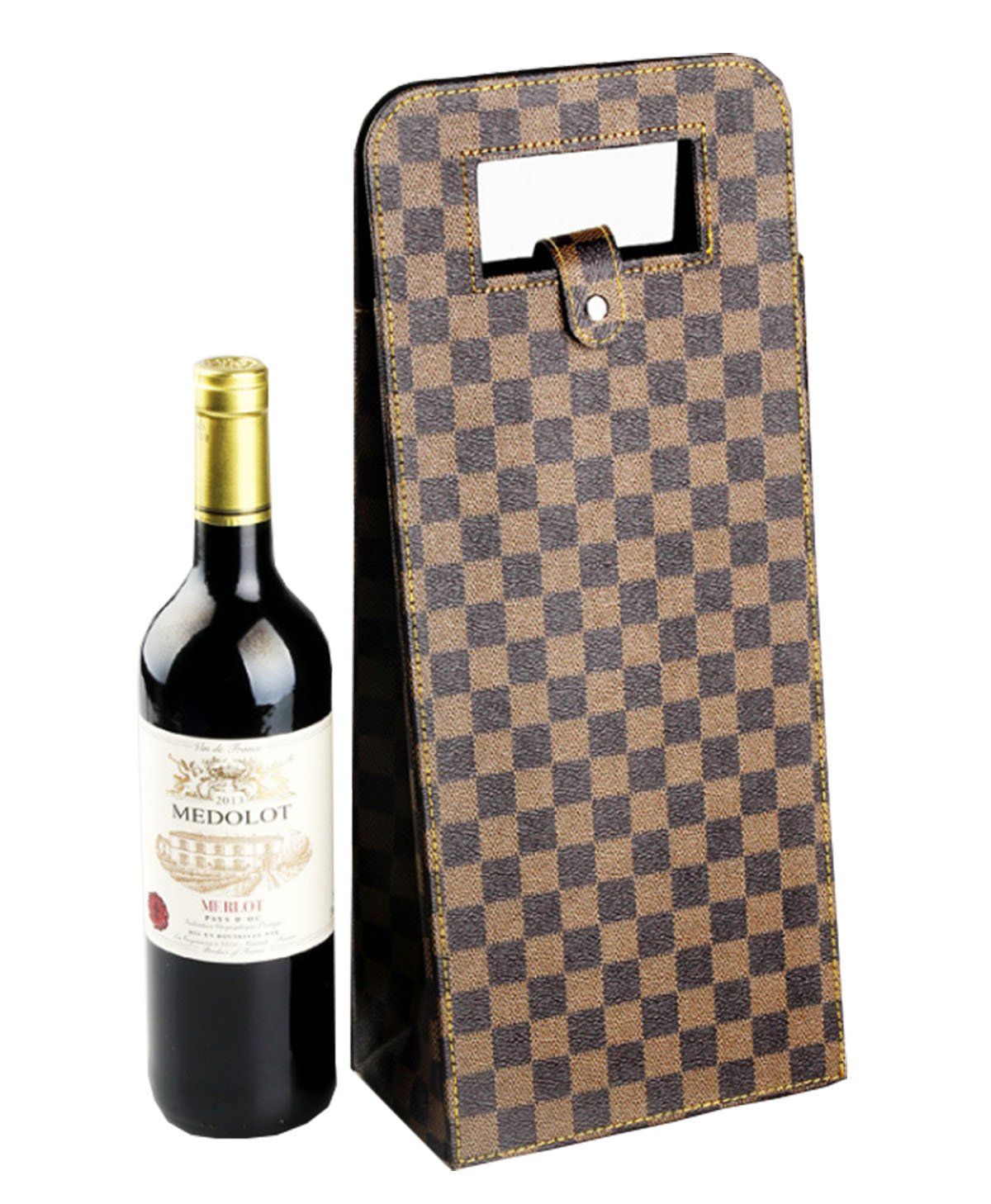 Plaid PU Leather Luxury Custom Single Wine Carrier Bottle Gift Bag