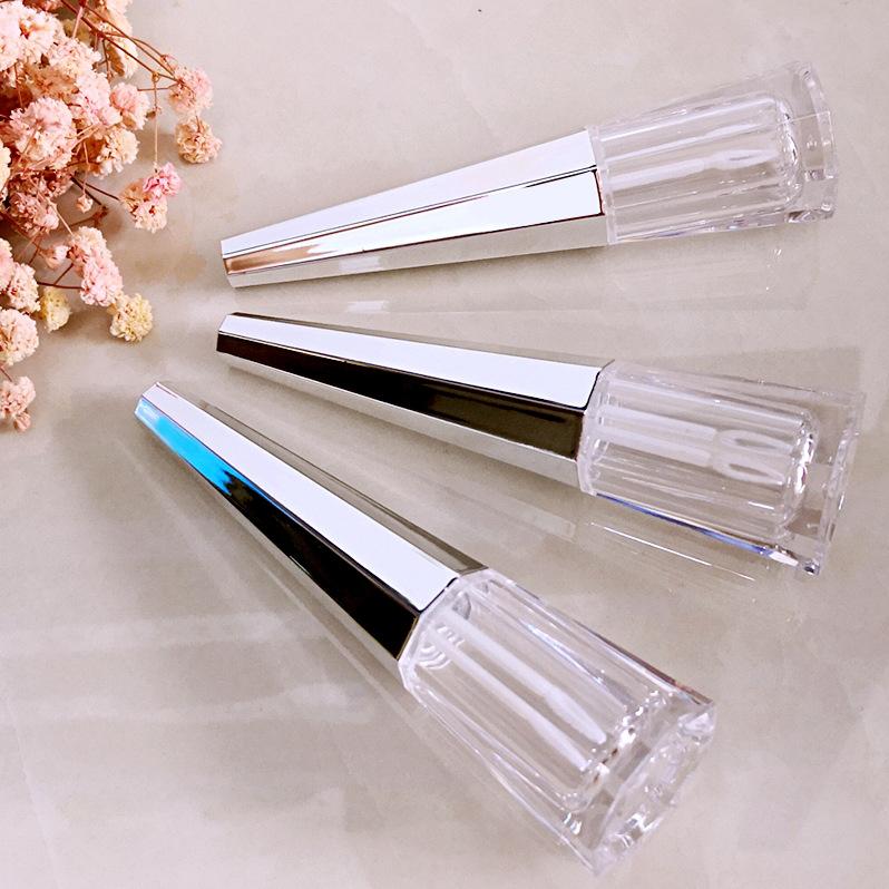 Private Label 7ml Mini Silver Black Plastic Lip Gloss Tube Liquid Lipstick Container Packaging