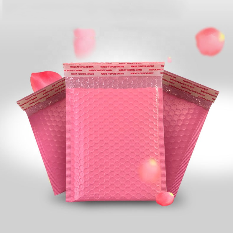 custom poly light pink holographic bubble mailers padded envelopes shipping packaging bags