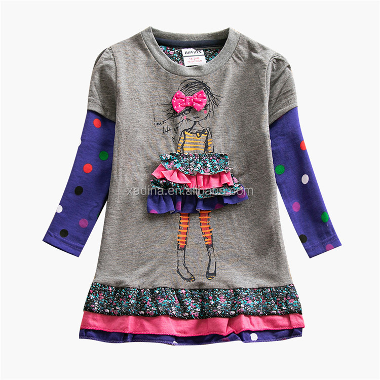 3-6 Years Girls Fall Dresses Long Sleeve with Cartoon Printing Cheap Kids Clothes Dot Design Girls Boutique Clothing