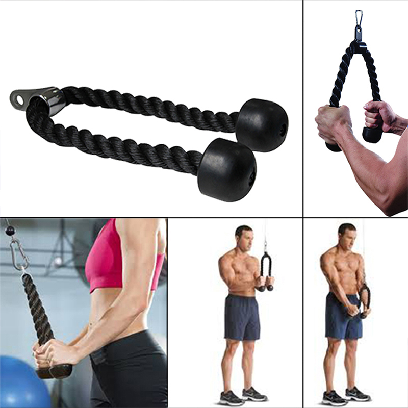 Hot Sale Gym Fitness Heavy Capacity Black Gym Tricep Rope For Strength Training