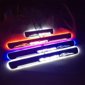 New design 2019 hot selling acrylic moving led car door scuff sill plate for chr