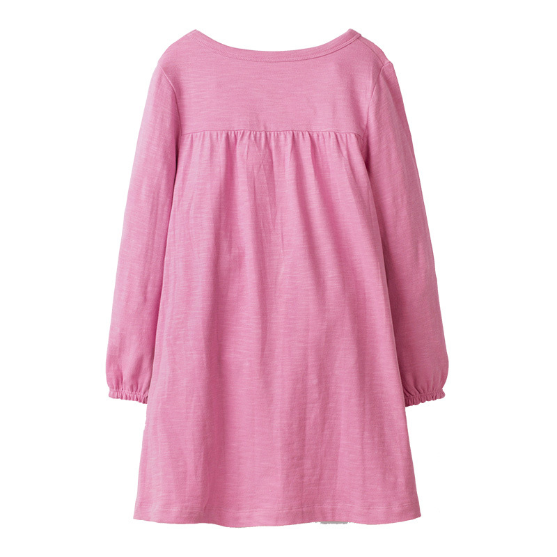 O-neck popular cotton flower cat butterfly printed pink casual long sleeve girl dress