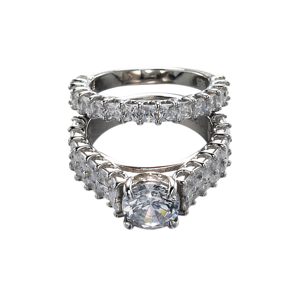 white gold wedding cubic zirconia couple silver 925 diamond rings