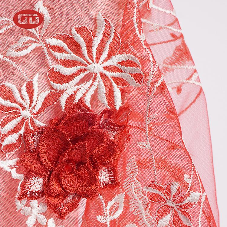 חדש סגנון אלגנטי RTS פרח רשת רקום אדום נטו בד לחתונה