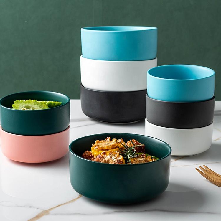 "Cheap 4.5"" 6"" round microwave safe dishwasher safe stackable matte ceramic salad soup mixing bowl"