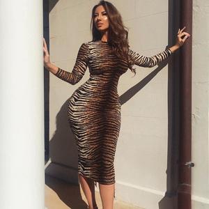 Buy wholesale new autumn ladies long dresses women sexy long sleeve tiger stripe print bodycon dress