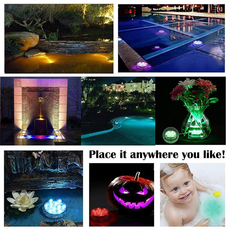 10/13 Led Remote Controlled RGB Submersible Light Battery Operated Underwater Night Lamp Outdoor Party Garden Decoration Summer