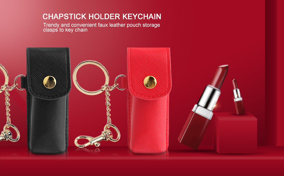 custom portable small keychain holder leather lipstick case