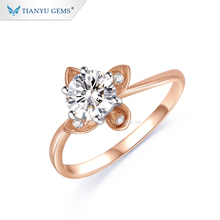 Tianyu gemmes Offre Spéciale mode 14k or <span class=keywords><strong>rose</strong></span> fleur forme brillant coupe moissanite diamant <span class=keywords><strong>bague</strong></span>