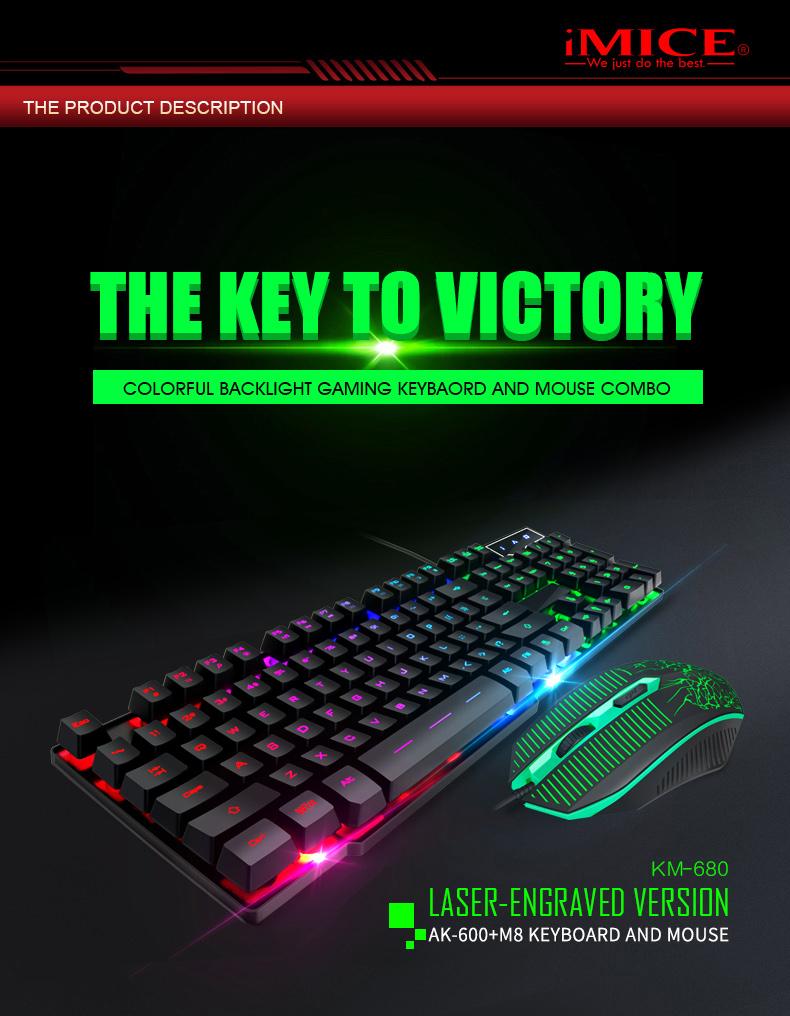 IMICE-souris clavier jeu USB | Marque d'usine, KIT de jeu COMBO clavier et souris de jeu