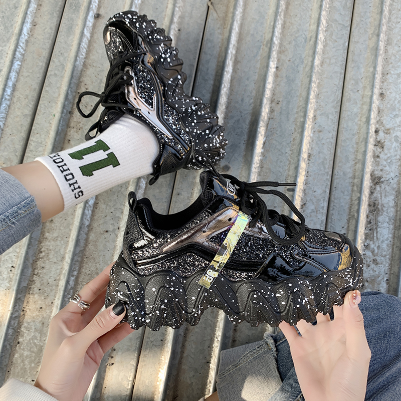 Women Fashion Chunky sneakers Ladies casual shoes Thick bottom Sneaker Trendy Shining Sequins Sports Shoes Girl Lace Up Sneakers