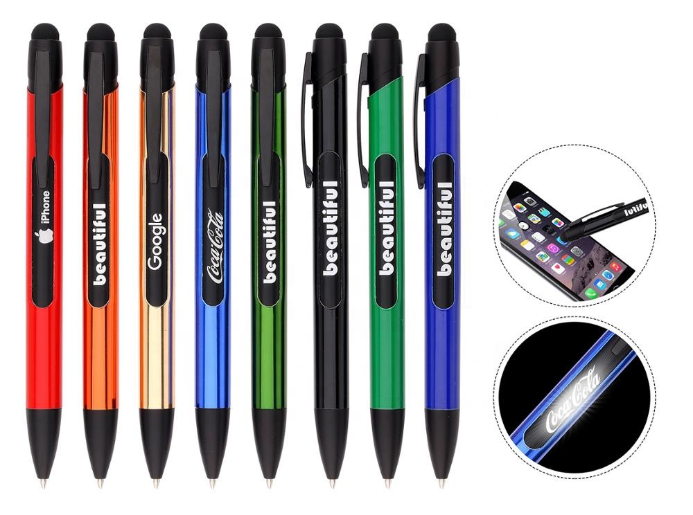custom logo multifunction Led light Popular Cheap Logo kalem Promotional Stylus smart pen