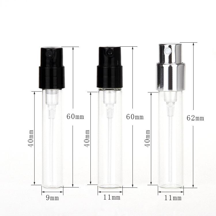 Beste verkauf 1ml 2ml probe leere glas nachfüllbar parfüm spray flasche