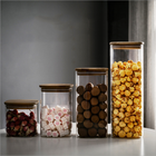 Clear Square Glass Food Storage Container Airtight Food Jars with Bamboo Wooden Lid Kitchen Canisters For Sugar,Candy, Cookie