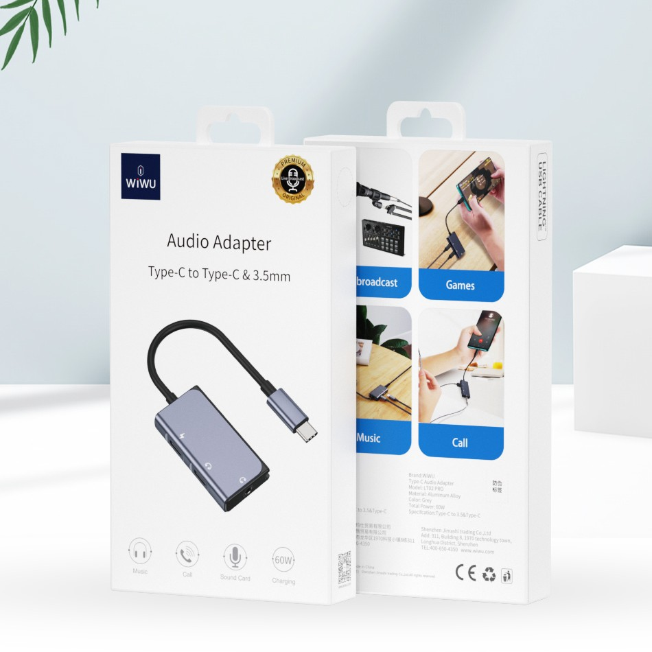 WiWU LT02 Pro 3 in 1 Type-C to Dual Type-C + 3.5mm Jack with Microphone Audio Adapter for Smartphones