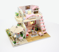 Hottest with light and furniture DIY wooden doll houses crafts for girls