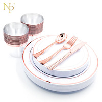 Nicro Party Supplies 150 pcs Rose Gold Plastic Plates,Cups ,Forks,Knives and Spoons