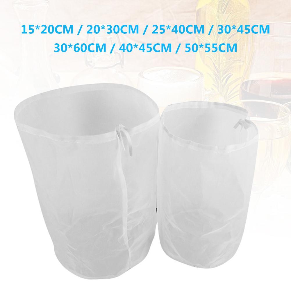 2Pcs Home Reusable Drawstring 200 Mesh Wine Milk Juice Coffee Brew Filter Bag