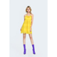 Spaghetti straps yellow youth clothing hole backless lace casual dress