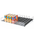 Adjustable Width Refrigerator Plastic Roller Shelf Pusher Tray Management System Gravity Grocery Roller