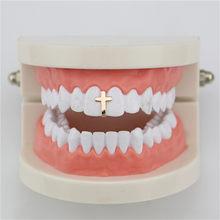 Хип-хоп одиночные зубные грили для мужчин, круглые золотые зубные колпачки для зубов(Китай)