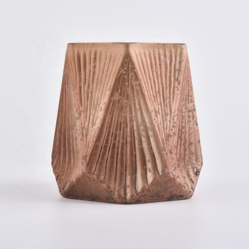 hexagonal copper glass candle holders