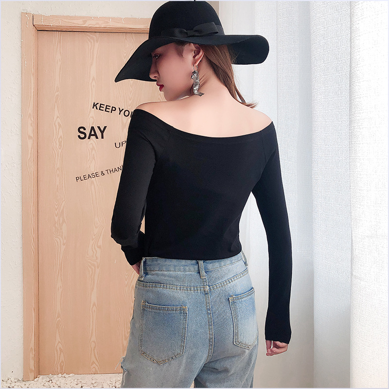 Fashion solid custom sexy one shoulder woman shirts and long sleeve blouses tshirt