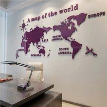 3D наклейки на стену, акриловое украшение на стену, гостиная, спальня, Карта мира, наклейка для домашнего декора, офисный фон, обои(Китай)