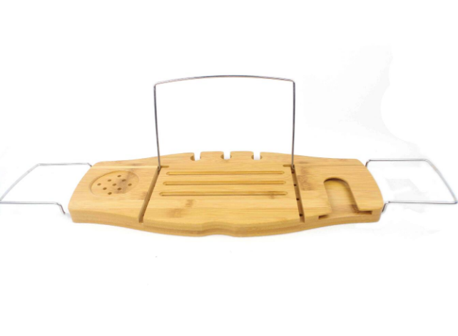 Eco-Friendly Bamboo Bath Tub Caddy Tray With Stainless Steel Handle
