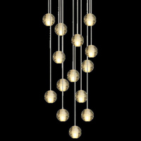 JYL-SJD099 Crystal Ball Chandelier Bubble Ball Pendant Lamp Villa Stairs Lighting G4 Glass Ball Long Hanging Lamp