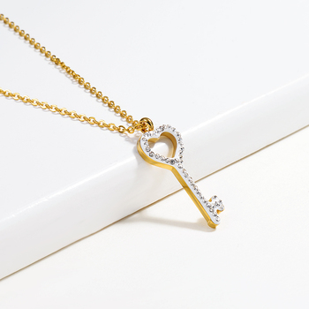 BAOYAN Classic Stainless Steel Cubic Zirconia Key Pendant Necklace