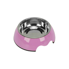 Pink color stainless steel anti-skid rubber ring colors available melamine pet bowl for dog