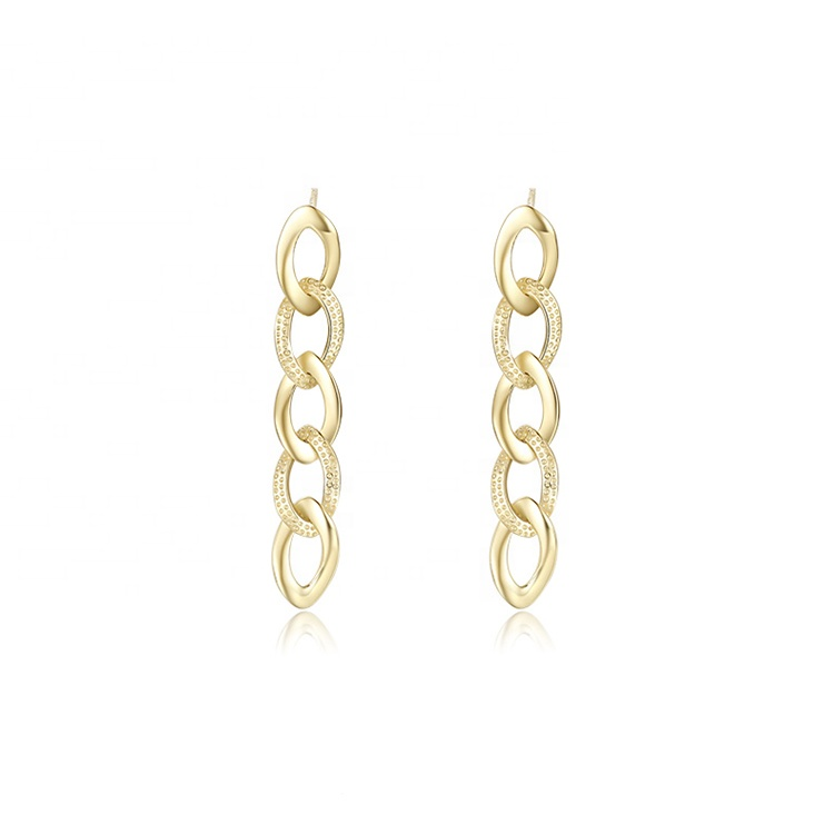Trendy New Style Custom Handmade Pendientes Jewelry 925 <strong>Sterling</strong> <strong>Silver</strong> <strong>Drop</strong> Gold Plated Cuban Link Chain <strong>Earrings</strong> For Women