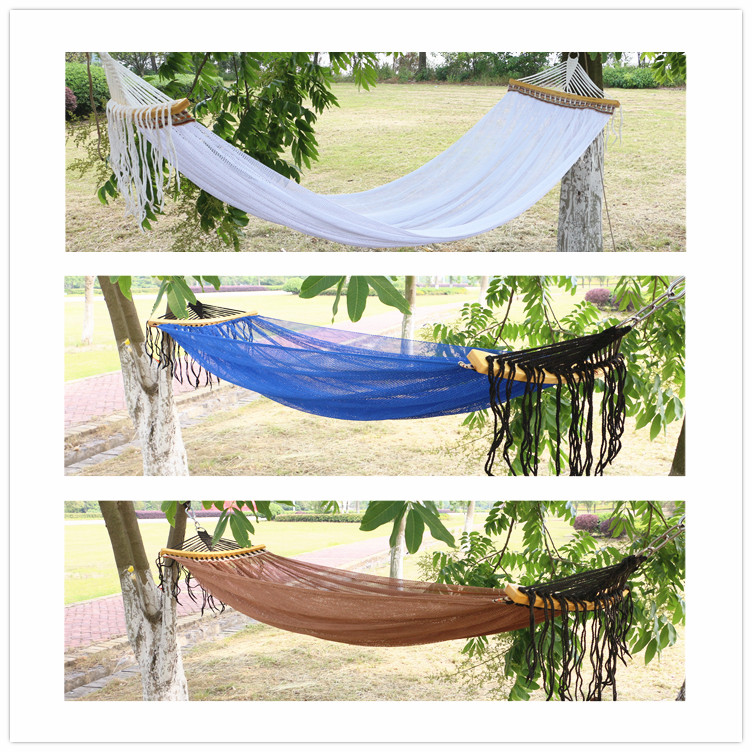Cheap double canvas camping hammock wood stick steady garden swing hanging camping  hammocks
