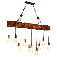 10-Lights Wooden Island Chandelier Retro Rustic Pendant Lighting Lamp