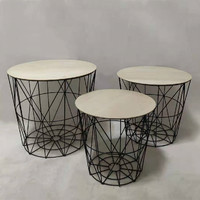 Set of 3 Matt Black Iron MDF Metal Wire Table Round Coffee Table