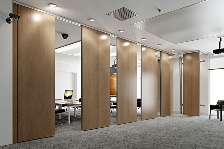 office wood grain Decorative operable wall movable partition walls sliding partition door panel for conference room