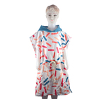 Children's fashion printed microfiber beach change cloak hooded bathrobe poncho