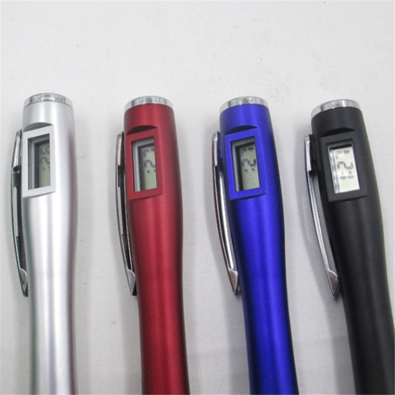2020 Hot Sale Multi Function Metal Ballpoint Pen With Digital Advertising Electronic Watch Clock Pen