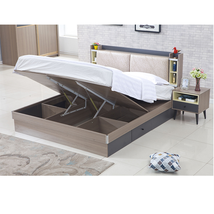 Competitive price MDF Wood Double Bed Design With Box