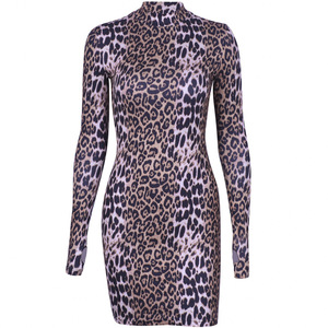Long sleeve high neck leopard print sexy bodycon mini dress 2019 autumn winter women fashion Christmas party clothes