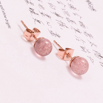 18K Rose Gold filled Round Ball stainless steel stud earrings fashion jewelry earrings for women